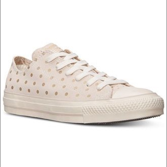CONVERSE Cream Suede with Gold Polka Dot 9.5
